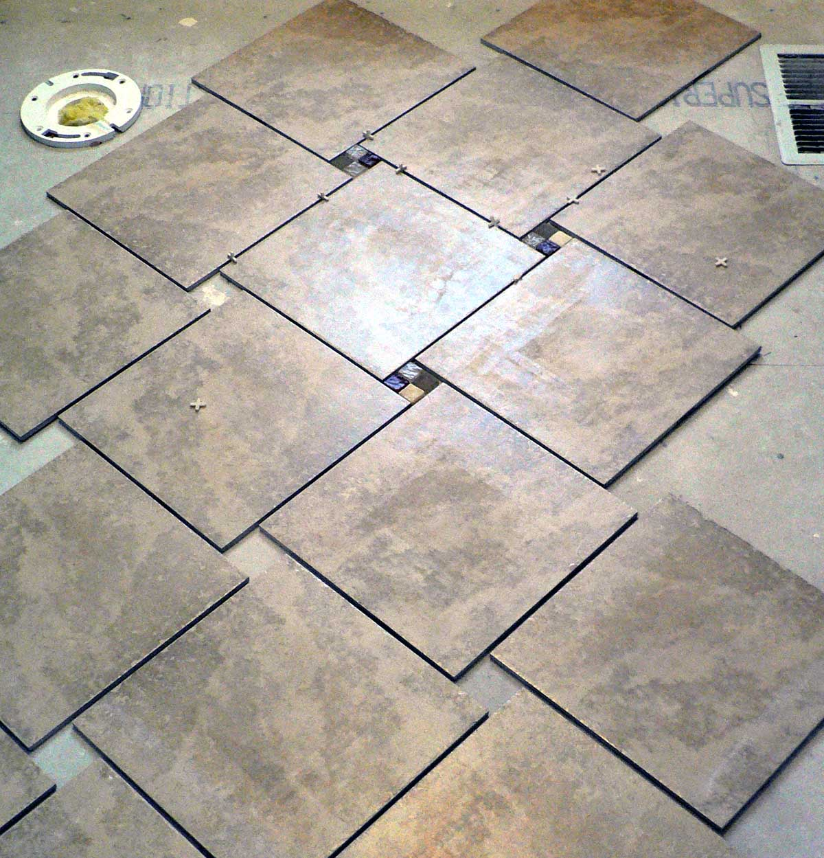 Option 3 3 3 Mosaic Tile Between 12 Inch Floor Tiles To Most