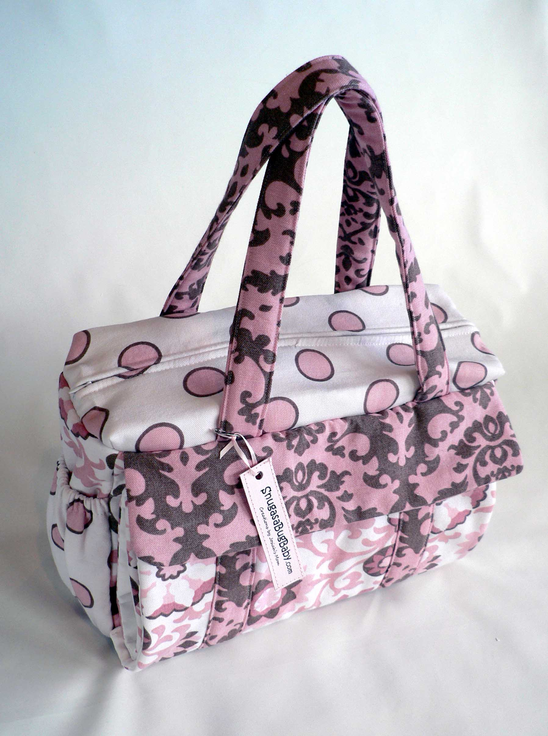 SnugasaBugBaby Diaper Bag in Bubble Gum and Brown | SnugasaBugBaby