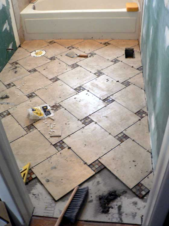 how to lay bathroom floor tile order